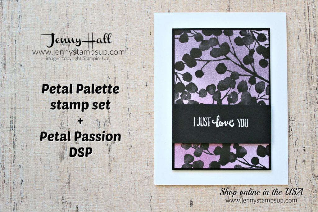 Purple Passion card with Petal Palette Bundle by Jenny Hall at www.jennystampsup.com for #stampinup #cardmaking #petalpalette #brayer #coloring #jennystampsup #jennyhalldesign #ombre #cardmakingtechniques #2018occasionscatalog #stamping