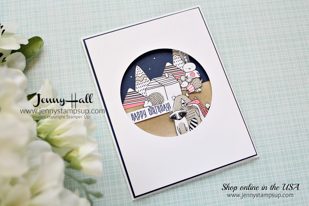 Goodnight Critters Birthday card by Jenny Hall at www.jennystampsup.com for #stampinup #cardmaking #scrapbooking #videotutorial #cardmakingvideo #pictureperfectbirthday #pickapatterndsp #jennystampsup #jennyhalldesign #jennyhallstampinup #cascards #cleanandsimplecards and more!