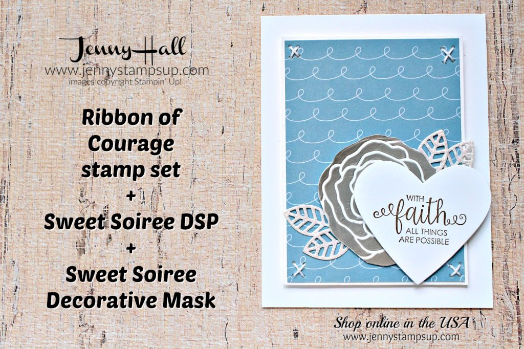 Ribbon of Courage support card by Jenny Hall at www.jennystampsup.com for #cardmaking #videotutorial #cardmaingvideos #stampinup #stamping #cardmakingtechniques #silverembossingpaste #ribbonofcourage #supportribbondies #blueandgray #handstitchedcard #jennyhalldesign #jennystampsup #jennyhallstampinup #wwys #whatwillyoustampchallenge #scrapbooking