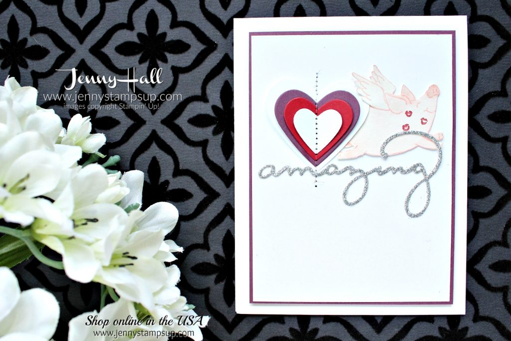 Piggy Valentine's Day card by Jenny Hall at www.jennystampsup.com for #stampinup #cardmaking #valentinesday #cascards #cleanandsimplecards #thislittlepiggy #sweetandsassyhearts #jennyhalldesign #jennystampsup #jennyhallstampinup #celebrateyouthinlits #watercolor #sewingmachinecard #cardmaker #stampinkpaperchallenge #papercraftcrewchallenge