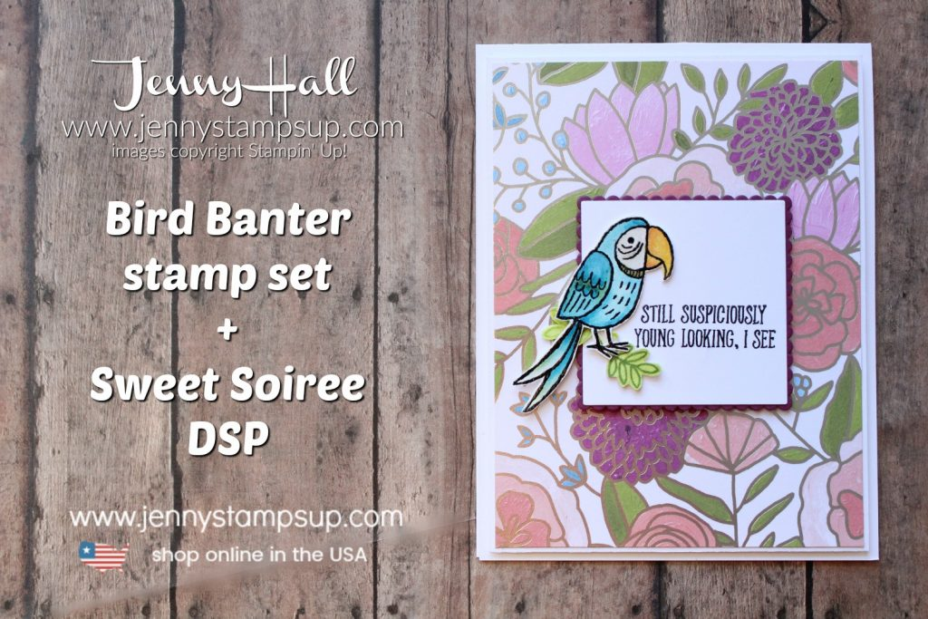 For the Love of Creating Blog Hop Bird Banter card by Jenny Hall at www.jennystampsup.com for #cardmaking #stamping #stampinup #birdbanter #sweetsoireedsp #watercolor #watercolorcard #diy #cardmakingtechnique #blueparrot #onstage #jennyhalldesign #jennystampsup #jennyhallstampinup #halljenny #stamping #cascards #design #bloghop #youtuber