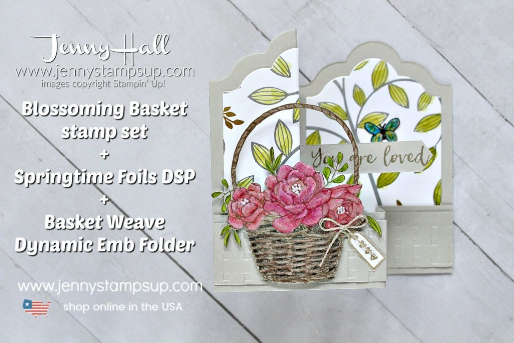 Blossoming Basket Double Z Fold Box Card created by Jenny Hall at www.jennystampsup.com for #cardmaking #addinktivedesigns #addinktivedesignteam #doublezfold #boxcard #lotsoflabelsdoublezfoldboxcard #jennystampsup #jennyhalldesigns #jennyhallstampinup #fancyfoldcard #blossomingbasket #Basketweaveembossingfolder #watercolorpencils #addinktive #springtimefoildsp #stampinblends #stamping #Coloredpencils #watercolor #blenderpen