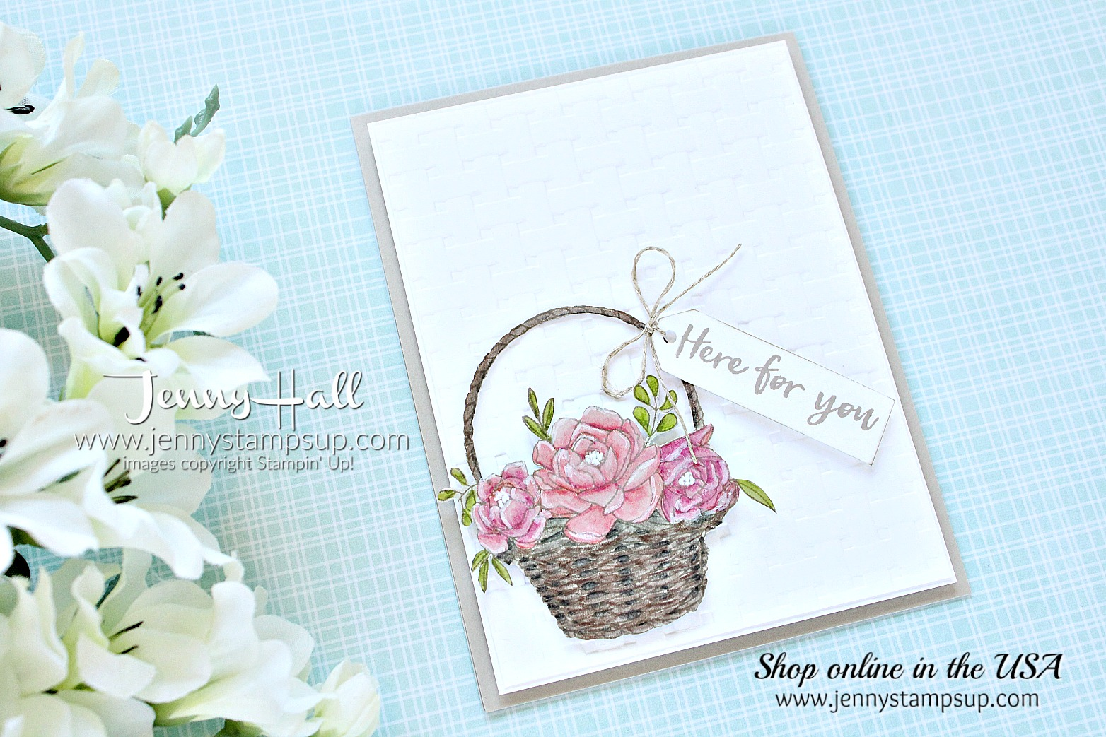 Blossoming Basket card created by Jenny Hall at www.jennystampsup.com for #cardmaking #videotutorial #processvideo #blossomingbasket #basketweaveembossing #cascards #cleanandsimplecards #cardmakingchallenge #jennyhalldesign #jennystampsup #jennyhallstampinup #coloringvideo #youtuber #artsandcrafts #papercraft #watercolor #lifestyle