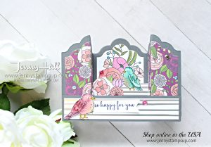 Bridge fold box card created by Jenny Hall for AddINKtive Designs at www.jennystampsup.com for #addinktivedesignteam #addinktivedesigns #cardmaking #stampinup #fancyfold #stamping #springtimefoilsdsp #colormehappykit #colormehappy #bridgefold #stampinblends #sweetsoiree #jennyhalldesign #jennystampsup #jennyhall #jennyhallstampinup #youtuber #scrapbooking #crafts #paperembossing #kidfriendlycraft #handmadecard #greetingcard