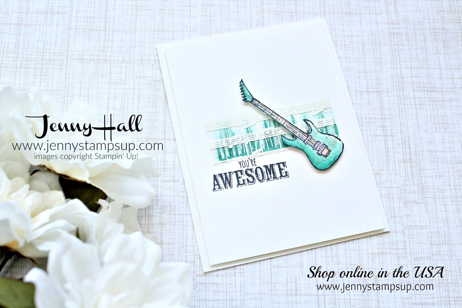 Epic Celebrations card created by Jenny Hall at www.jennystampsup.com for #cardmaking #stamping #stampinup #cascards #cleanandsimplecards #alcoholmarkers #awesome80's #1980's #hardrock #heavymetal #stampinblends #embossonacetate #jennyhalldesign #papercraft #youtuber #cardmakingtutorial #crafts #diy