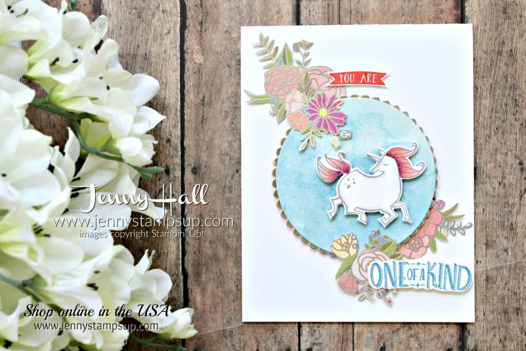 Magical Day unicorn card created by Jenny Hall at www.jennystampsup.com for #cardmaking #stamping #stampinup #watercolor #unicorn #jennyhalldesign #jennystampsup #wwys