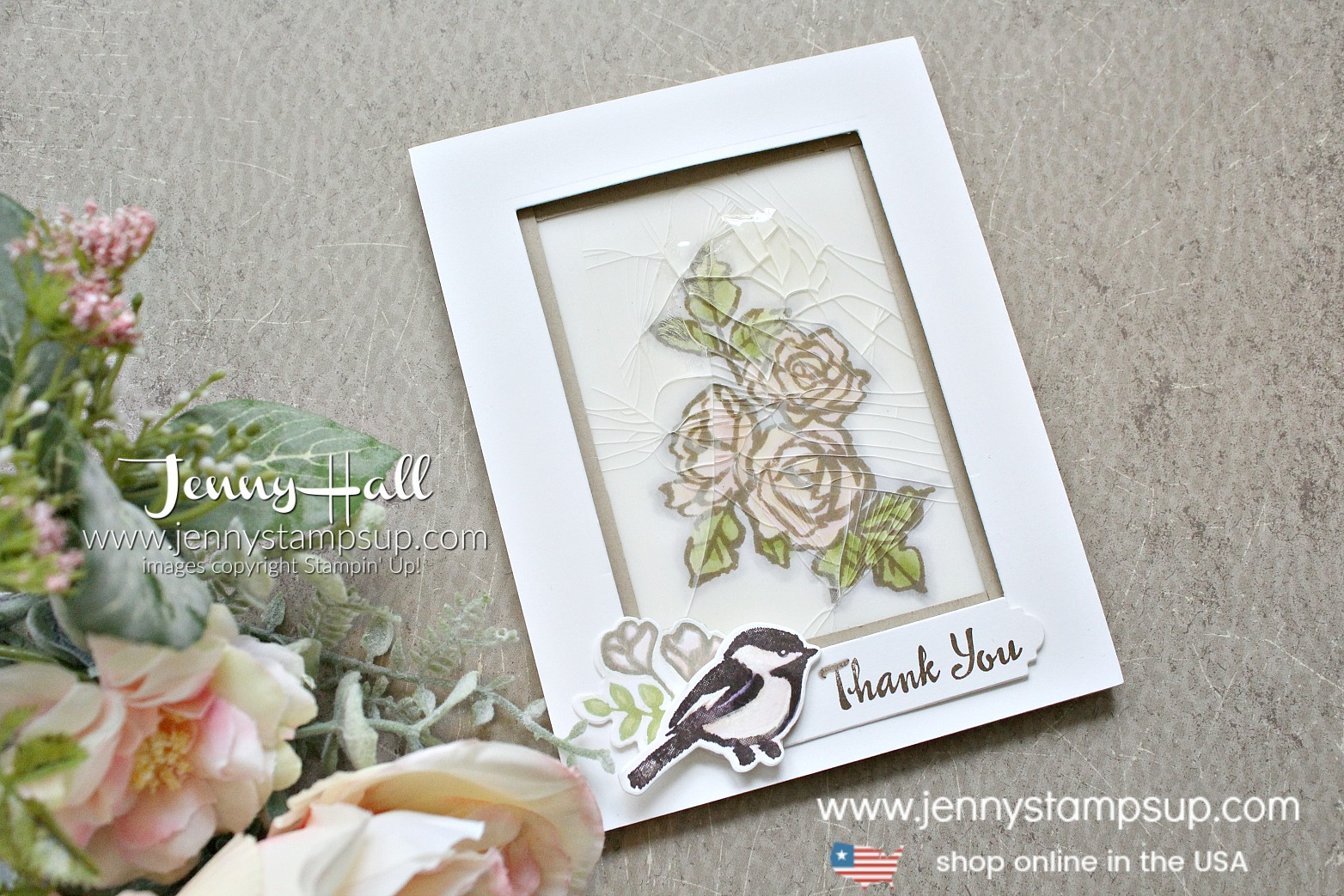 Cracked glass technique card with Petal Palette Bundle created by Jenny Hall at www.jennystampsup.com for #cardmaking #videotutorial #youtuber #cardmakingvideos #cardmakingtechnique #papercraft #cardmakingdesign #petalpalette #vintage #vintagecard #crackedglass #tiffanystyle #shabbychic #shabbychicdesign #cascards #jennyhalldesign #jennystampsup #jennyhallstampinup #crafts #watercolorpainting #stamping #stampinup #lifestyle #creativelife