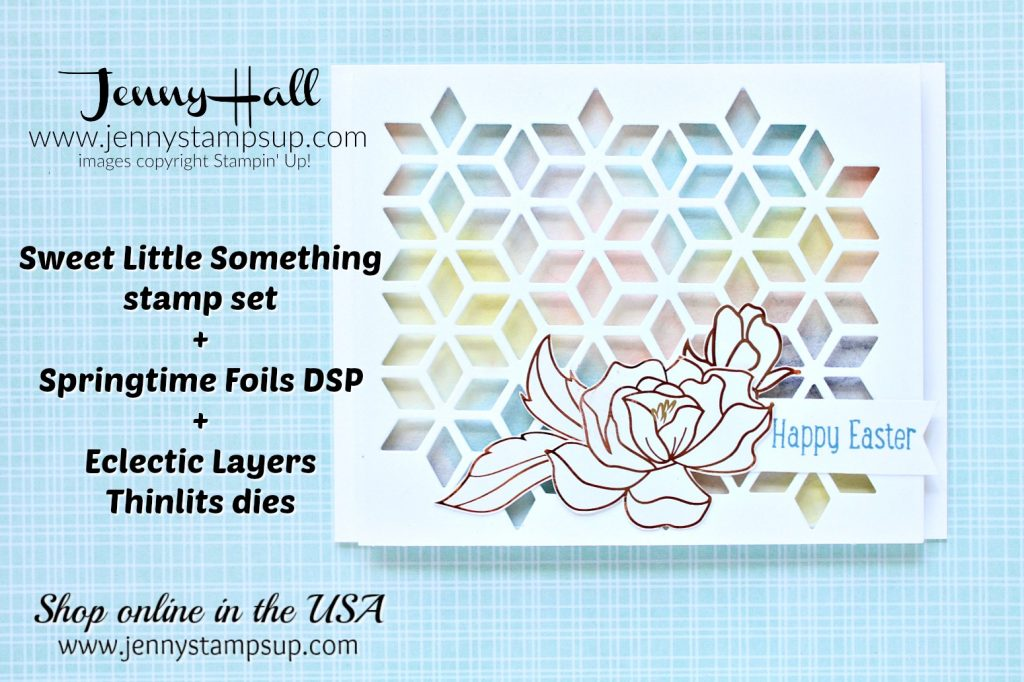 February Ink and Inspiration Blog Hop Easter Card created by Jenny Hall at www.jennystampsup.com for #cardmaking #stamping #bloghop #watercolor #cardmakingtechnique #cardmakingdesign #stampinup #pastels #eastercard #springtimefoilsdsp #watercolorpainting #crafts #lifestyle #paperembossing #youtuber #geometric