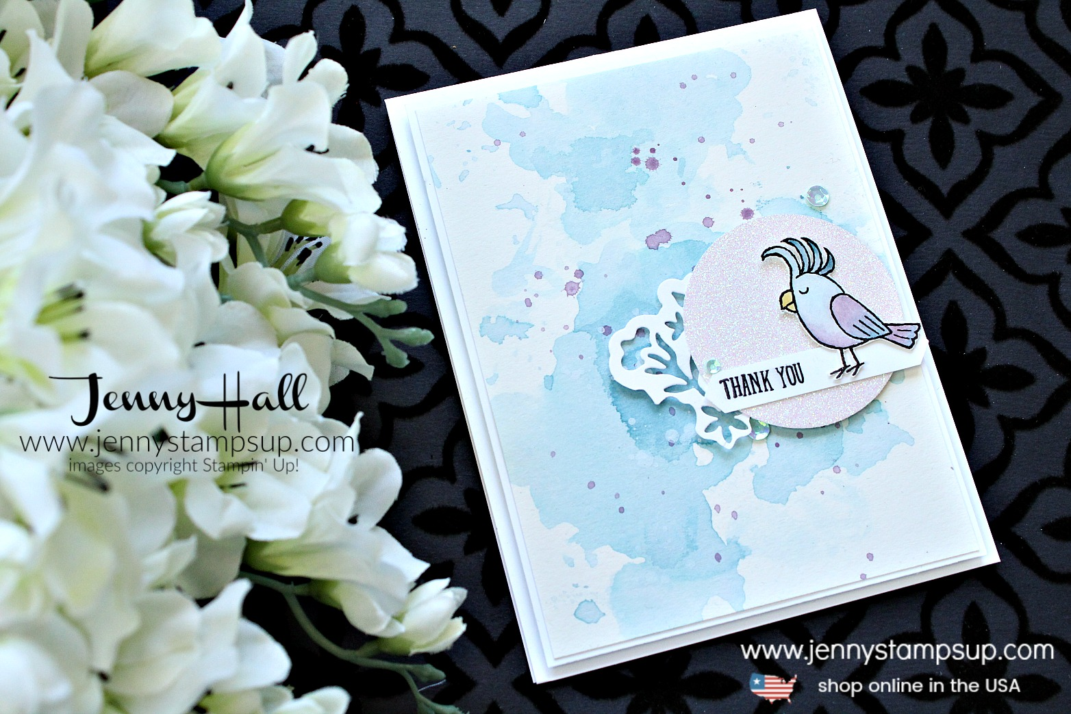 Bird Banter Moonlight card created by Jenny Hall at www.jennystampsup.com for #cardmaking #stamping #stampinup #birdbanter #birdstamp #watercolorsmooshing #detailedfloralthinlits #moonlight #watercolorpainting #crafts #lifestye #diy #jennyhall #jennystampsup #jennyhalldesign #jennyhallstampinup