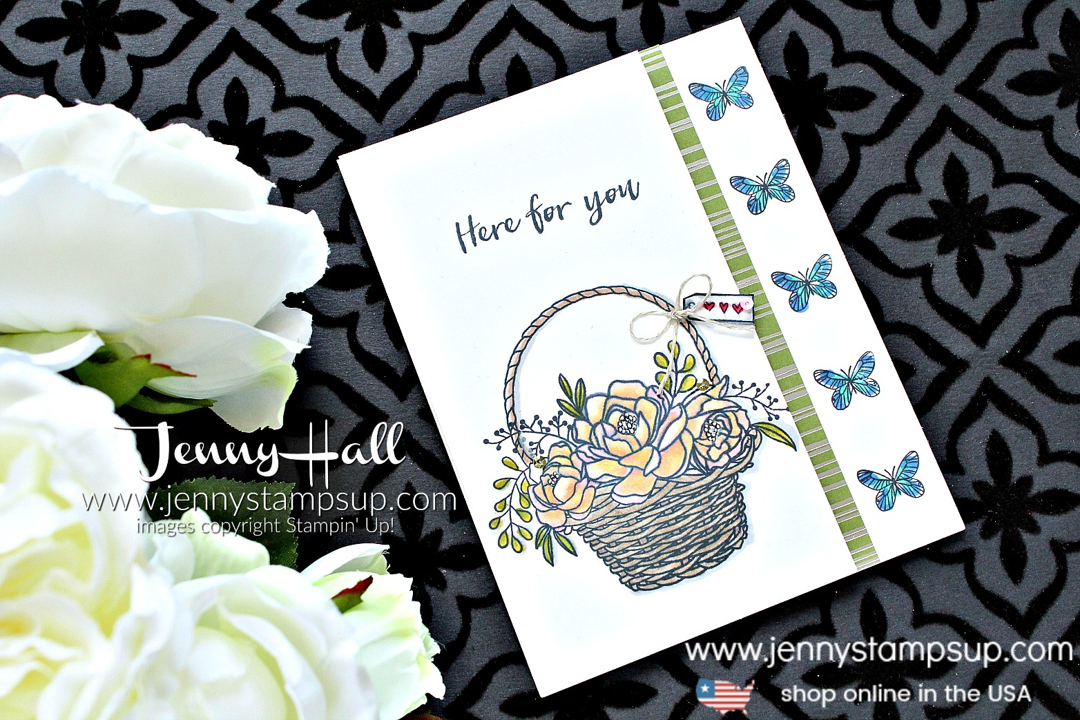 Blossoming Basket with the Stamparatus card created by Jenny Hall at www.jennystampsup.com for #cardmaking #stamparatus #stampinblends #stampinup #stamping #videotutorial #jennyhall #jennyhalldesign #jennyhallstampinup #jennystampsup #crafts #lifestyle #coloring cardmakingvideo #youtuber