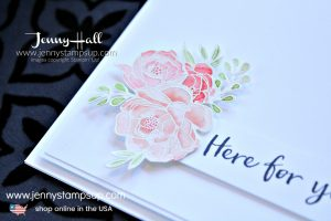 Subtracting an image from a large stamp card featuring Blossoming Basket stamp set created by Jenny Hall at www.jennystampsup.com for #cardmaking #stampinup # stamping #watercolorpainting #flirtyflamingo #2016incolors #jennyhall #jennyhalldesign #jennyhallstampinup #jennystampsup #youtuber #cascards #cleanandsimplecards #support #sympathycard