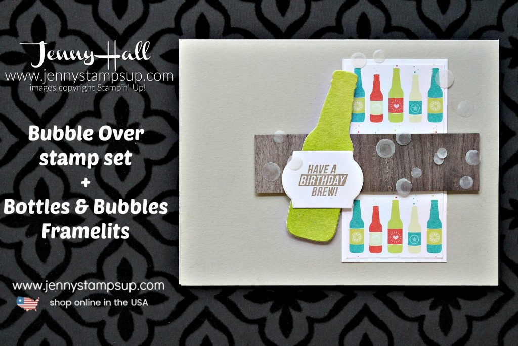 Bubble Over masculine card with Video created by Jenny Hall at www.jennystampsup.com for #cardmaking #stamping #stampinup #bubbleover #guycard #masculinecard #sodapopstamp #jennyhall #jennyhalldesign #jennyhallstampinup #jennystampsup #videotutorial #youtuber #craftyyoutube #diyvideo #processvideo #crafts #papercrafts #watercolorpainting