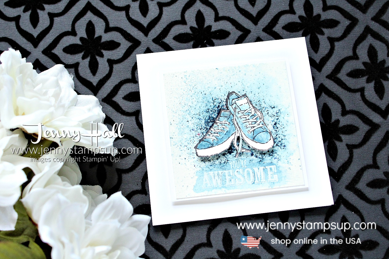 National Craft Month Blog Hop card created by Jenny Hall at www.jennystampsup.com for #cardmaking #bloghop #youtuber #craftyyoutuber #videotutorial #brusho #watercolor #grungetechnique #blueshoes #jennyhalldesign #jennyhall #jennystampsup #jennyhallstampinup #crafts #paperembossing #watercolorpainting #lifestyle #handmadecard #greetingcard