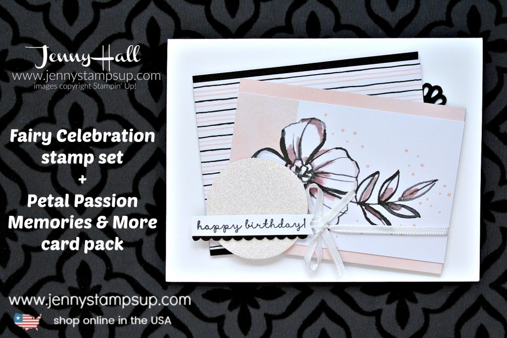 Petal Passion Memories & More card project created by Jenny Hall at www.jennystampsup.com for #cardmaking #stamping #stampinup #fairycelebration #petalpassion #petalpassionmemoriesandmore #birthdaycard #jennyhall #jennyhalldesign #jennyhallstampinup #jennystampsup #rubberstamp #papercrafts