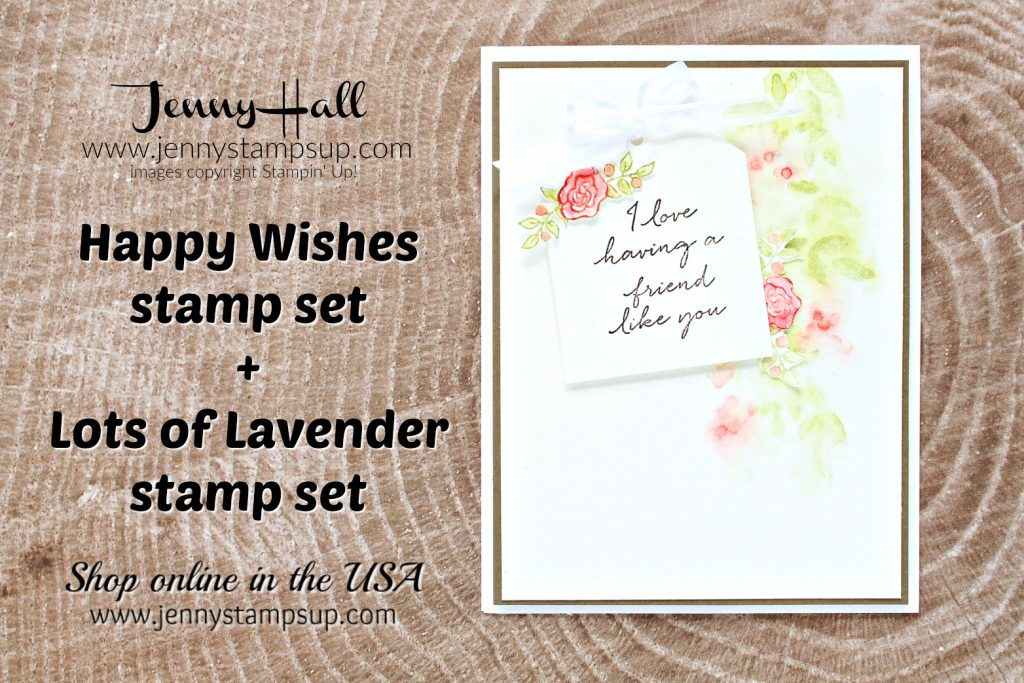 Lots of Lavender card created by Jenny Hall at www.jennystampsup.com for #jennyhalldesign #jennyhall #jennyhallstampinup #jennystampsup #lotsoflavender #happywishesstampset #messywatercolor #globaldesignproject #friendship #cardmaking #cardmaker #handmadecard #fussycutting #creativelife #watercolor #crafts #diy #mothersday