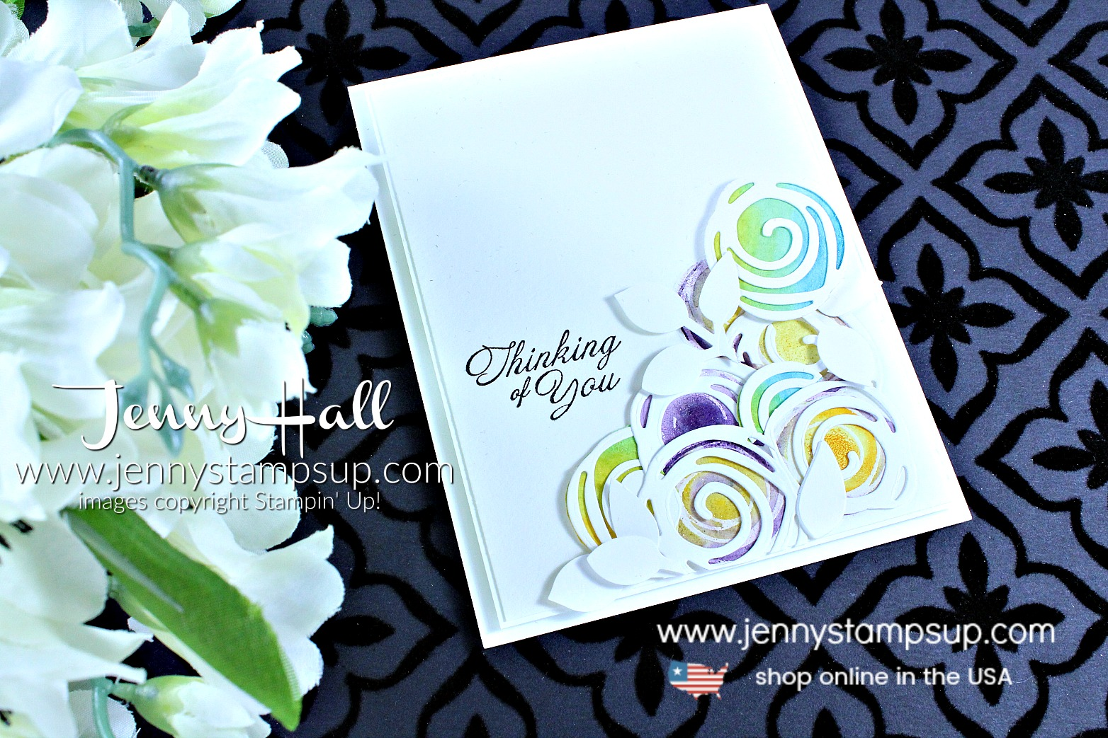 Swirly Flowers card created by Jenny Hall at www.jennystampsup.com for #cardmaking #cascards #stamping #stampinup #swirlyscribbles #abstractart #heartfeltblooms #cleanandsimplecard #watercolorpainting #jennyhall #jennyhalldesign #jennyhallstampinup #jennystampsup #youtuber