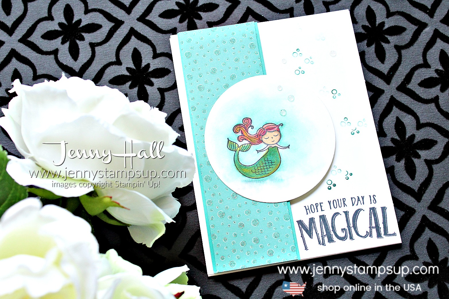 Magical Day mermaid card created by Jenny Hall at www.jennystampsup.com for #mermaid #mermaidhair #mermaidstamp #osatbh #osatbloghop #marchosatbloghop #magicalday #stampinup #stamping #cardmaking #cardmaker #stampinblends #videotutorial #youtuber #processvideo #magical #jennyhall #jennyhalldesign #jennyhallstampinup #jennystampsup #watercolor #crafts #lifestyle #creativelife #diy