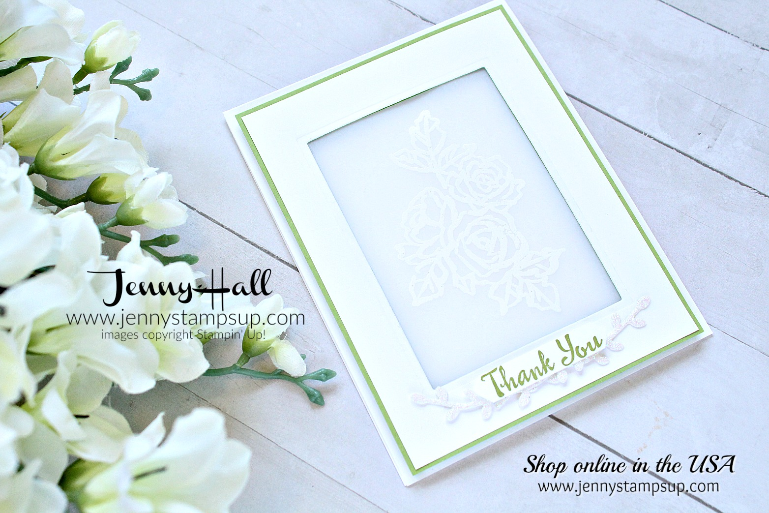 Go For Greece Blog Hop card featuring Petal Palette bundle created by Jenny Hall at www.jennystampsup.com for #cardmaking #stamping #stampinup #vellum #greenandwhitedesign #cascards #cleanandsimplecards #jennyhall #jennyhalldesign #jennyhallstampinup #jennystampsup #bloghop #videotutorial #youtuber #crafts #papercrafts #lifestyle