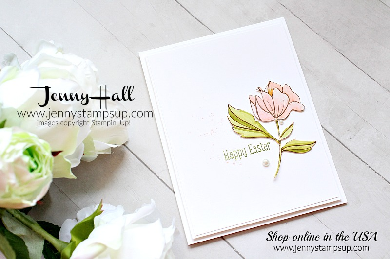 March Stampin Friends Blog Hop card featuring Springtime Foils DSP created by Jenny Hall at www.jennystampsup.com #cardmaking #cardmaker #creativelife #stamping #stampinup #markers #stampinblends #springtimefoils #cascards #cleanandsimplecards #whitespace #spring #coloring #youtuber #craftyyoutuber #videotutorial #jennyhall #jennystampsup #jennyhalldesign #papercrafting