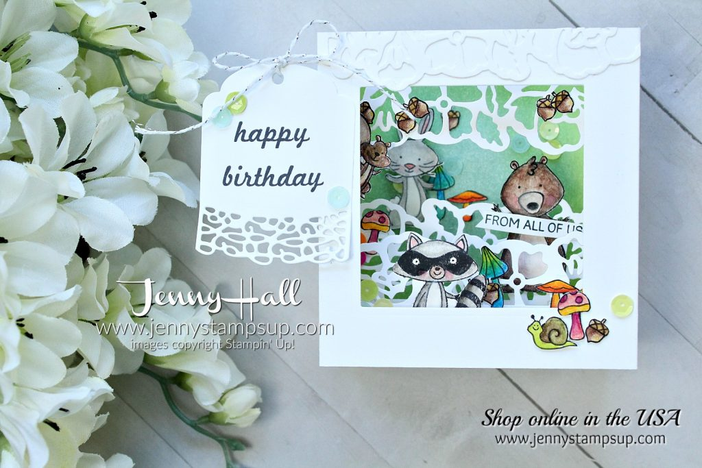 We Must Celebrate shadow box card created by Jenny Hall at www.jennystampsup.com for #cardmaking #fancyfolds #cascards #addinktivedesignteam #stamping #stampinup #cardmaker #youtuber #jennyhall #jennyhalldesign #jennyhallstampinup #jennystampsup #shadowbox #diy #crafts #sweetcakeframelits #detailedfloralthinlits #raccoonstamp #squirrelstamp #rabbitstamp #wemustcelebrate #watercolor #designteam