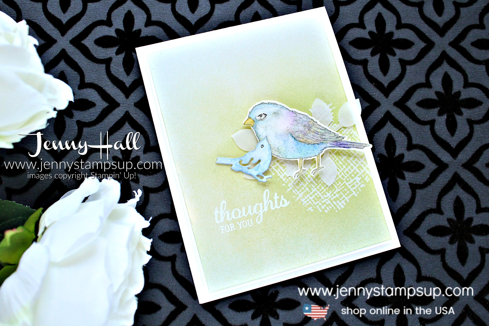 April Creating Kindness Blog Hop card created by Jenny Hall at www.jennystampsup.com for #cardmaking #stamping #stampinup #bestbirds #ombre #brayer #videotutorial #youtuber #craftyyoutuber #videohop #cascards #vellum #jennyhall #jennyhalldesign #jennyhallstampinup #papercrafting #lifestyle #birds #crafts