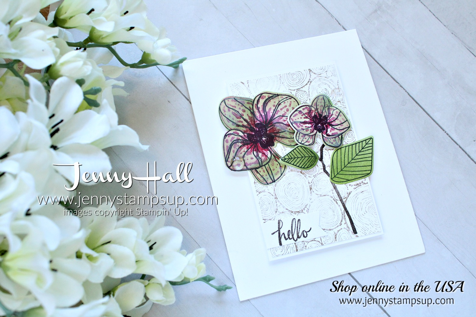 April Ink & Inspiration Blog Hop card created by Jenny Hall at www.jennystampsup.com for #cardmaking #climbingorchid #orchidstamp #stampinup #jennyhall #jennyhalldesign #jennystampsup #videotutorial #youtuber #stamping #orchidcard #cascards #cleanandsimplecards #stamparatus