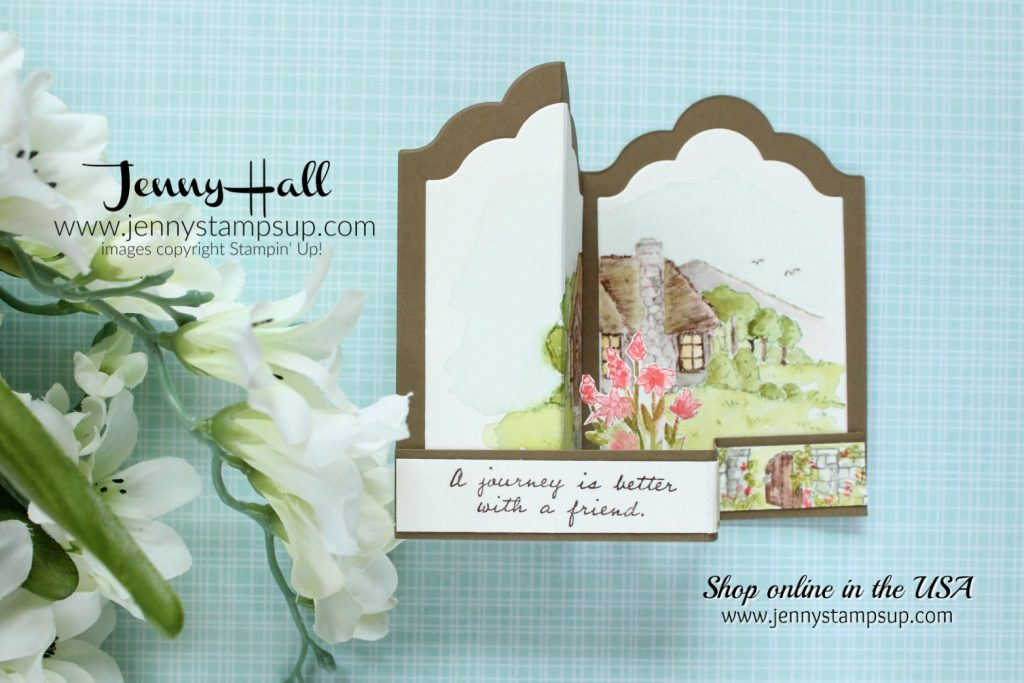 Cozy Cottage Double Z Fold box card created by Jenny Hall for AddINKtive Designs at www.jennystampsup.com for #cardmaking #stamping #stampinup #jennyhall #jennyhalldesign #jennystampsup #jennyhallstampinup #watercolorpainting #crafts #cozycottage #doublezfoldcard #friendship #rubberstamp #fancyfoldcard #youtuber