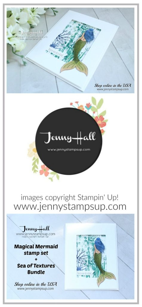 Sea of Textures Bundle with Magical Mermaid stamp set created by Jenny Hall at www.jennystampsup.com for #cardmaking #stamping #diy #handmade #stampinblends #seaoftextures #mermaid #jennyhall #jennyhalldesign #jennystampsup #youtuber #papercrafts #crafts #bluehair #stampinup