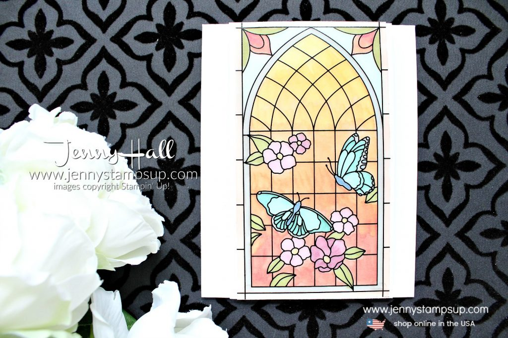 Painted Glass sunrise card created by Jenny Hall at www.jennystampsup.com for #cardmaking #paintedglass #stamping #papercrafting #videotutorial #stainedglass #christiancraft #kidfriendlycraft #stampinup #jennyhall #jennyhalldesign #jennystampsup #jennyhallstampinup #butterfly #lifestyle #creativelife #newproduct #youtuber