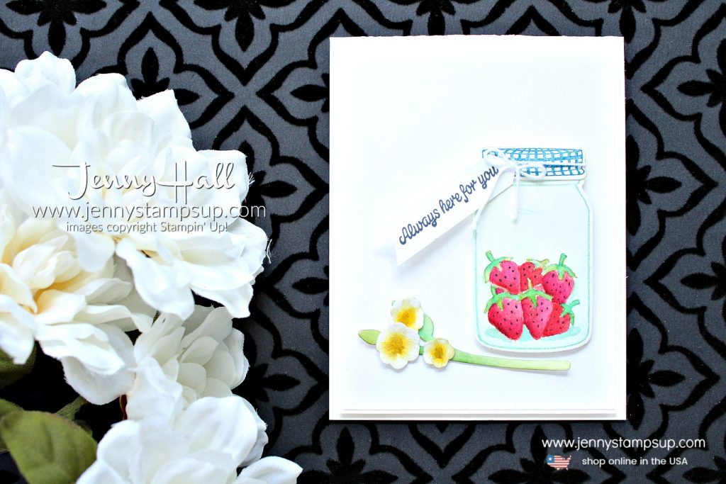 Watercolor with Depth card created y Jenny Hall of #jennyhalldesign at www.jennystampsup.com for #cardmaking #stamping #watercoloring #watercolorpainting #everydayjarsthinlits #sharingsweetthoughts #cardmaking #stampinup #strawberries #painting #crafts #lifestyle #trendy #jennyhall #jennystampsup #videotutorial #craftyyoutube #youtuber