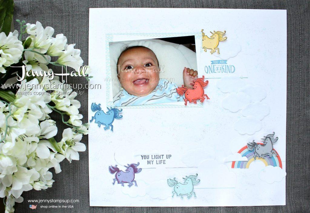 April Scrapbook Sunday Blog Hop layout created by Jenny Hall at www.jennystampsup.com for #scrapbooking #stamping #stampinup #sunshine&rainbows #magicalday #jennyhall #jennystampsup #jennyhalldesign #unicorn #unicorntheme #pastels #scrapbooksundaybloghop #bloghop #youtuber #videotutorial #craftyyoutuber
