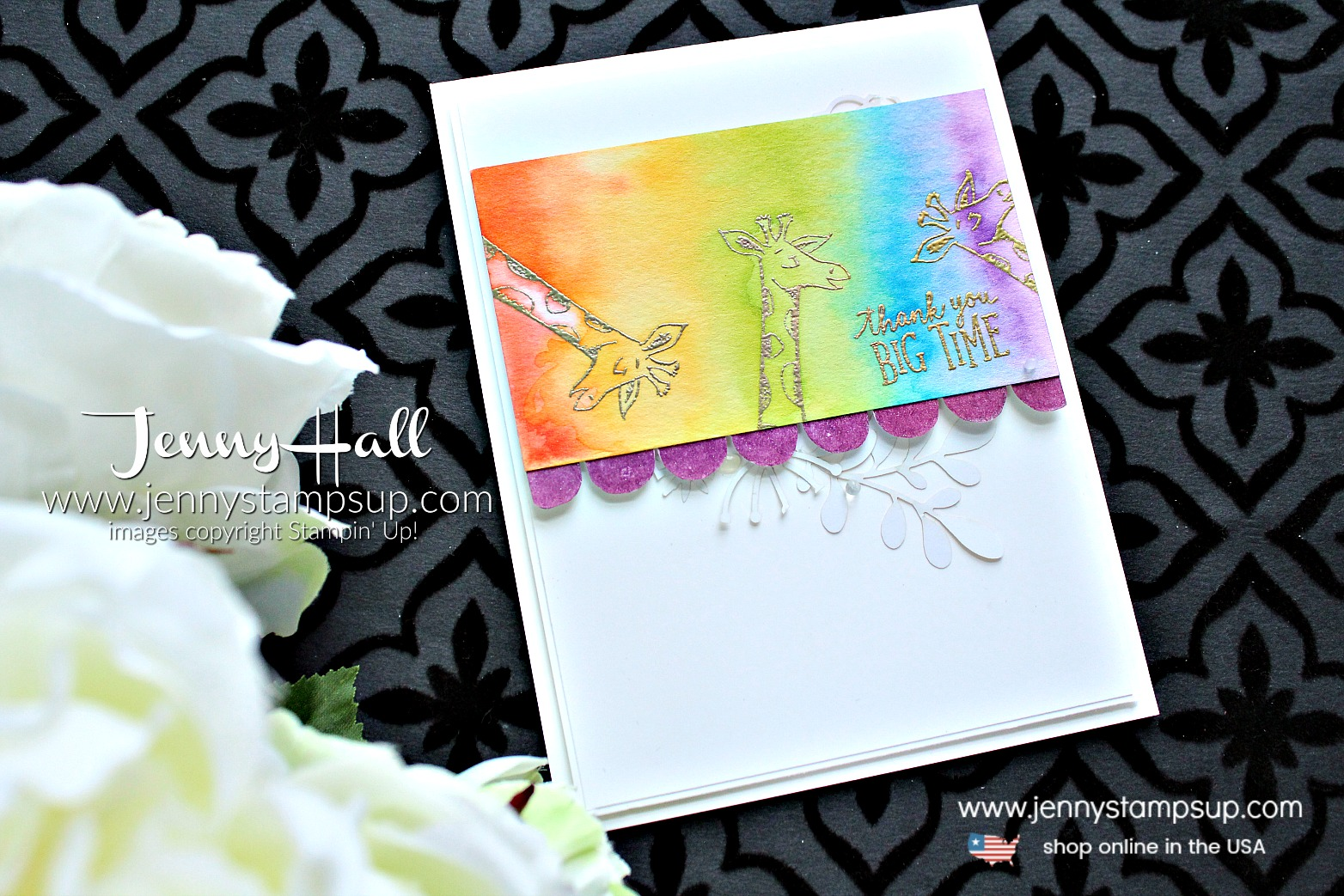 Animal Outing rainbow watercolor card with Video created by Jenny Hall at www.jennystampsup.com for #cardmaking #stamping #watercolorpainting #watercolor #rainbow #paintarainbow #giraffe #animalouting #jennyhall #jennyhalldesigns #jennystampsup #stampinup #youtuber #videotutorial #facebooklivereplay #crafts #diy #lifestyle