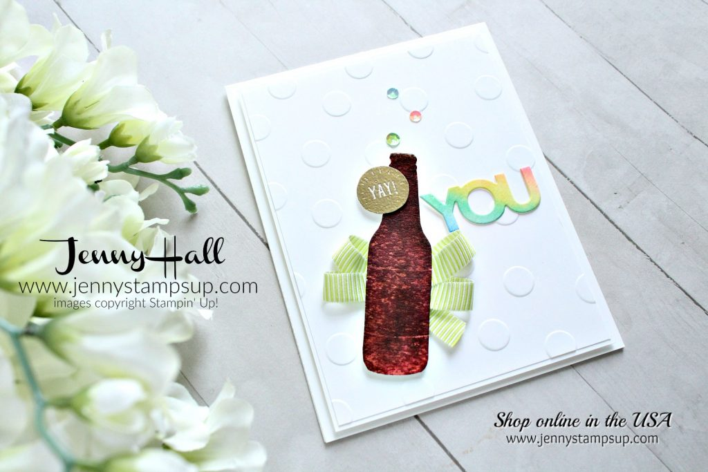 Bubble Over soda pop card created by Jenny Hall at www.jennystampsup.com for #cardmaking #cascards #bubbleover #watercolor #rainbow #stamping #stampinup #jennyhall #jennyhalldesign #jennyhallstampinup #jennystampsup #crafts #craftsforkids