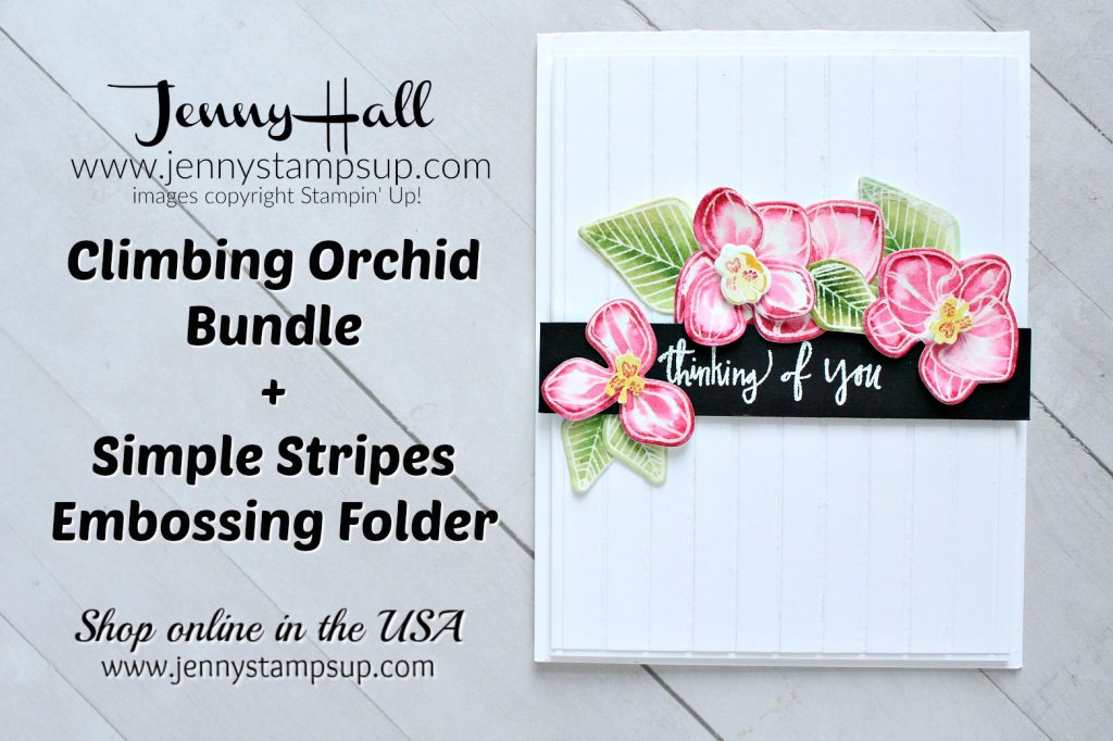 Climbing Orchid card created by Jenny Hall at www.jennystampsup.com for #climbingorchid #orchid #watercolorpainting #simplestripesembossingfolder #paperembossing #whatwillyoustampchallenge #wwyschallenge #stampinup #stamping #jennyhall #jennyhalldesign #jennystampsup #floral #craftsforkids #crafts #diy #cardmaking