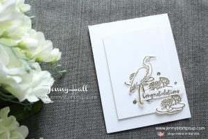 Lilypad Lake CAS card created by Jenny Hall at www.jennystampsup.com for #cardmaking #videotutorial #youtuber #cascards #cleanandsimple #gold #crane #lilypadlake #lakesideframelits #jennyhall #jennyhalldesign #jennystampsup #10%offbundle #congratulations #graduationcard #papercraft #paperembossing #craftsforkids #lifestyle #diy