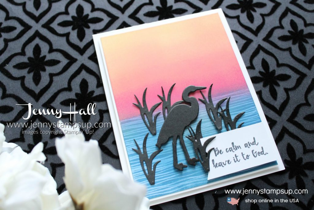 Lilypad Lake Silhouette card created by Jenny Hall at www.jennystampsup.com for #cardmaking #stamping #papercrafts #ombre #sunset #greetingcard #handmadecard #diy #craftsforkids #christiancraft #jennyhall #jennyhalldesign #jennystampsup #stampinup #lifestyle #videotutorial #crafts #paperembossing #youtuber