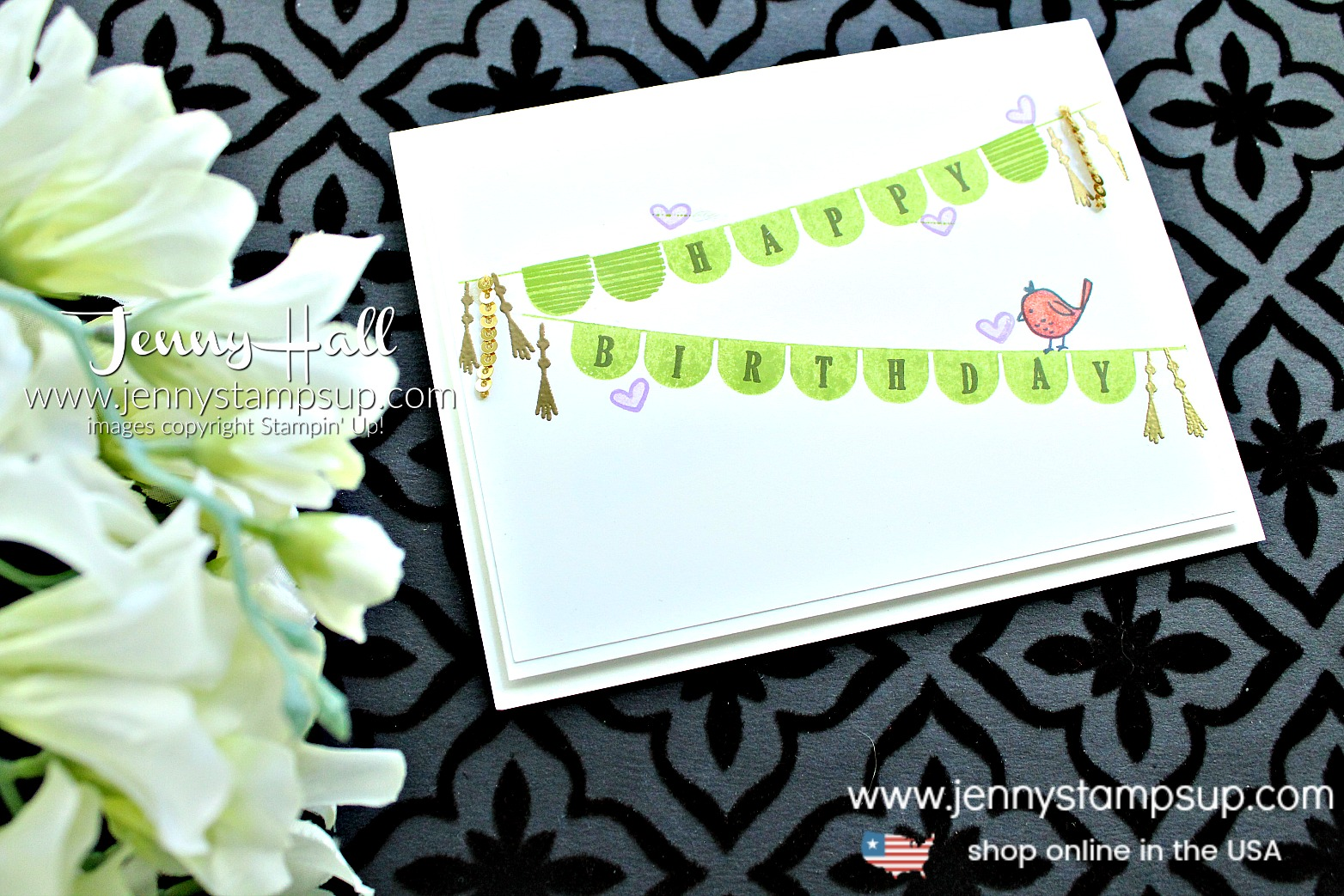 Kelly Kent's Birthday Blog Hop card featuring Pick a Pennant birthday card created by Jenny Hall at www.jennystampsup.com for #cardmaking #blog hop #stampinup #jennyhall #jennyhalldesigns #pickapennantstampset #videotutorial