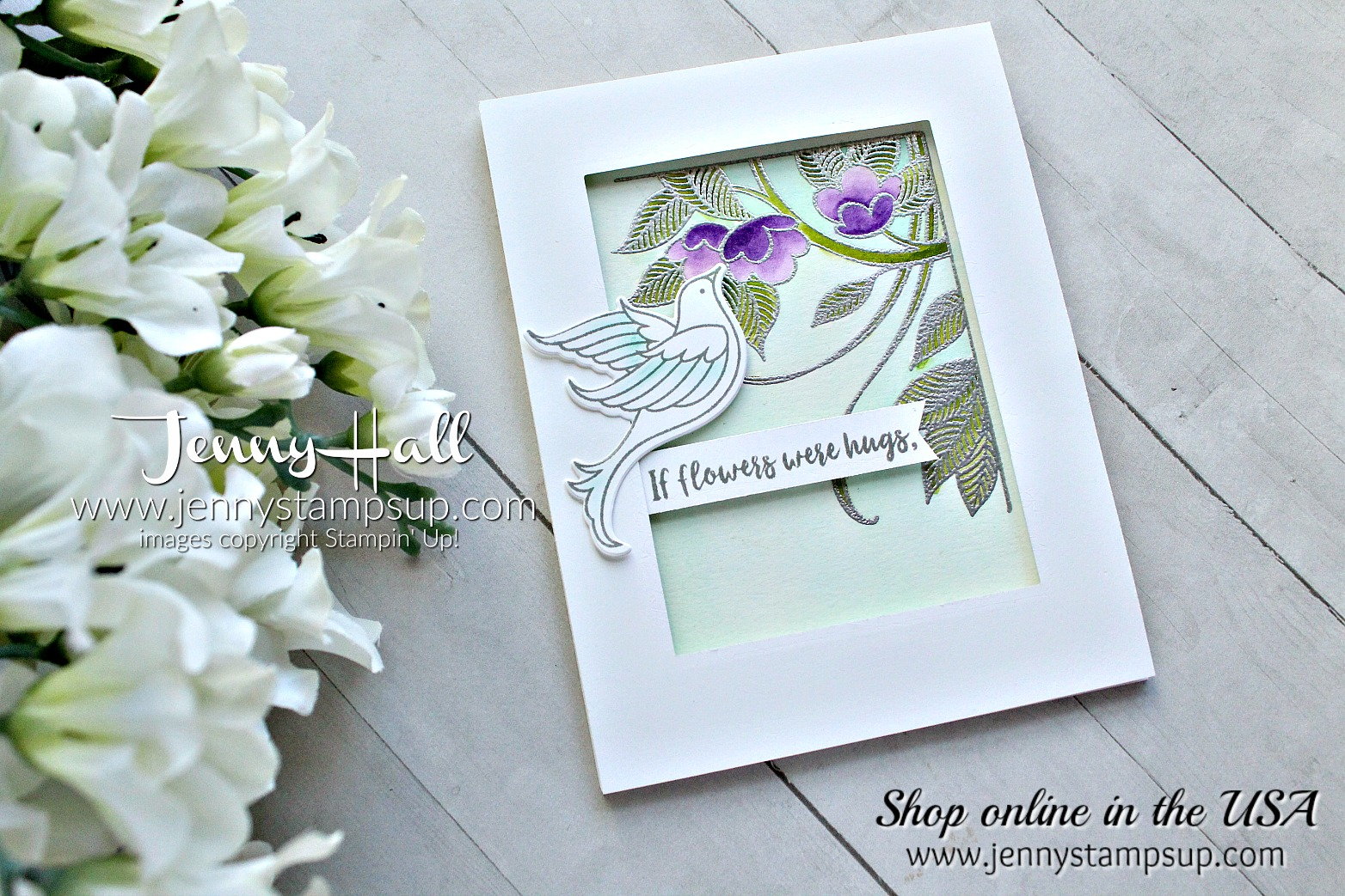 Serene Garden watercolor card created by Jenny Hall at www.jennystampsup.com for #cardmaking #designteam #serenegarden #watercolor #gorgeousgrape #dove #stampinkpaperchallenge #jennyhall #jennyhallstampinup #jennystampsup #jennyhalldesign #stampinup #stamping #papercrafting #crafts #craftsforkids