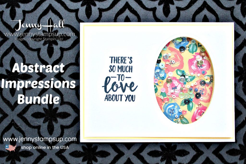 Abstract Impressions shaker card created by Jenny Hall at www.jennystampsup.com for #cardmaking #stampinup #stamping #shakercard #howto #diy #videotutorial #youtuber #jennyhall #jennyhalldesign #jennystampsup #abstractimpressions #stampinkpaperchallenge #crafts #craftsforkids #cascards