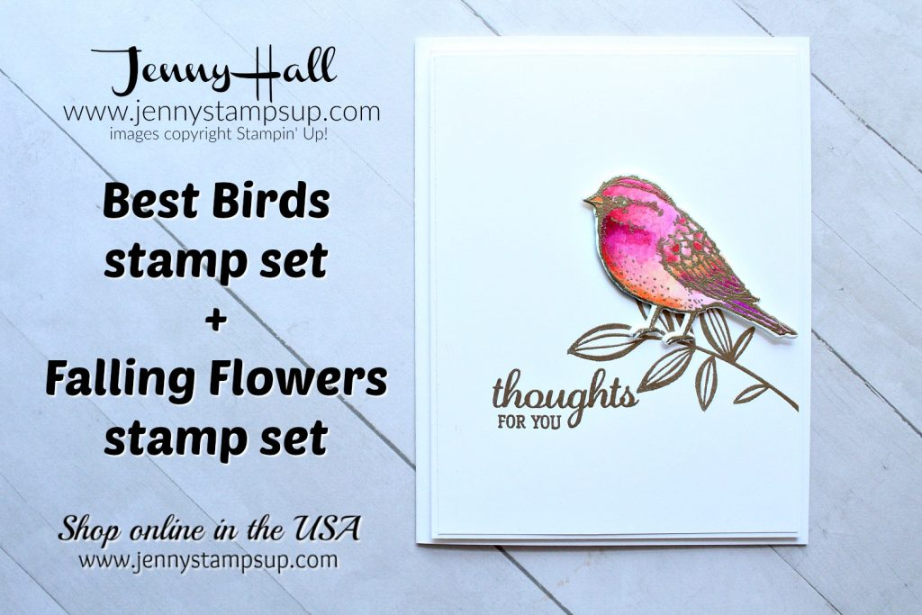 watercolor bird card created by Jenny Hall at www.jennystampsup.com for #cardmaking #cardmaker #stamping #stampinup #jennyhall #jennyhalldesign #jennystampsup #globaldesignproject #colorchallenge