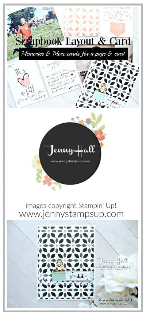 June OSAT Blog Hop card and layout created by Jenny Hall at www.jennystampsup.com for #cardmaking #scrapbooking #layout #layoutdesign #memoriesandmore #stampinup #stamping #delightfullydetailed #pocketpages #memorykeeping #jennyhall #jennyhalldesign #jennystampsup #osatbloghop #videotutorial #youtuber #crafts #diy
