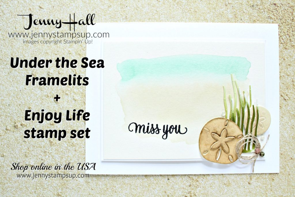 Watercolor beach scene card created by Jenny Hall at www.jennystampsup.com for #watercolor #watercolorpainting #beachscene #undertheseaframelits #enjoylifestampset #stamping #stampinup #rubberstamp #cascard #cleanandsimplecard #jennyhall #jennyhalldesign #jennystampsup #sanddollar #coastalcabana #saharasand #lifestyle #crafts #diy