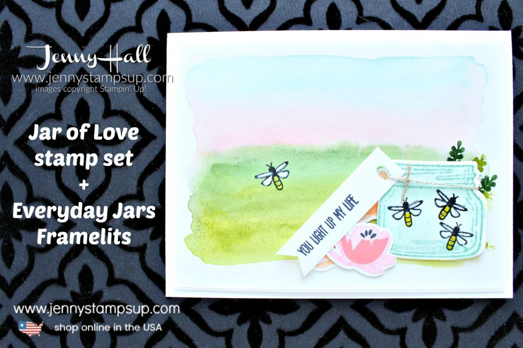 Watercolor wash landscape card created by Jenny Hall at www.jennystampsup.com doe #cardmaking #handmadecard #stamping #watercolorpainting #jaroflove #everydayjarsthinlits #watercolorwash #fireflies #masonjar #jennyhalldesign #jennyhall #jennystampsup #lifestyle #crafts #craftsforkids #papercrafting
