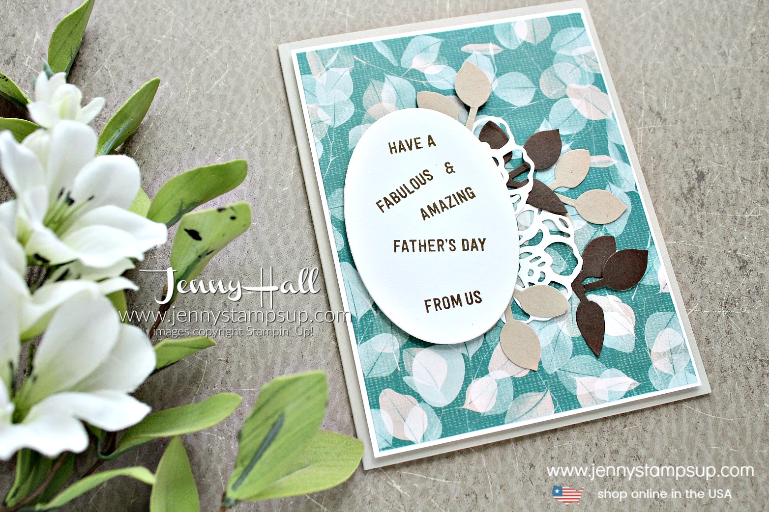Father's Day card from us created by Jenny Hall at www.jennystampsup.com for #fathersdaycard #masculinecard #cardfromus #jennyhall #jennyhalldesign #jennystampsup #naturespoemdsp #stamping #suochallenge