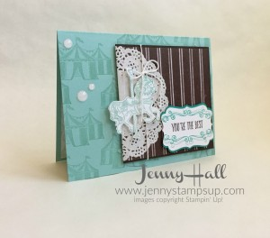 Carousel Birthday in blues and browns by Jenny Hall www.jennystampsup.com